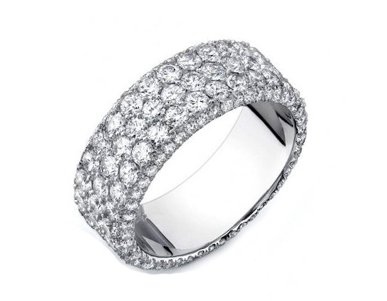 Three-row wide three-sided pave' eternity band