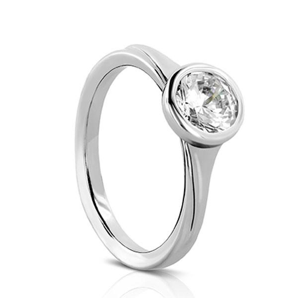 Sholdt design Rainier style diamond solitaire ring bezel set