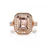 Rose Gold Morganite Emerald Cut Ring