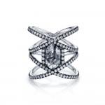 Natural Black Diamond Crossing Ring