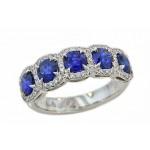 Blue sapphire diamond pave' bordered band