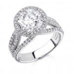 Custom made platinum triple band French pave diamond halo engagement ring