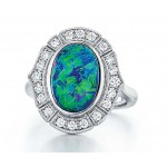 Custom made Australian Black Opal platinum and diamond ring