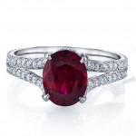 Ruby and Diamond Split Shank Ring