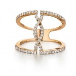 Diamond pave Twist band in 18k yellow gold