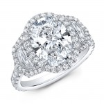 Oval Halo Engagement ring with Cadillac shape step cut sides