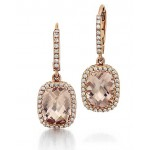 Morganite and diamond dangle earrings