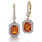Orange Sapphire Drop Earrings