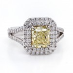 Yellow Radiant Double Halo Diamond Ring