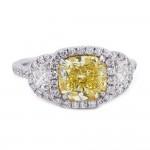 Fancy Intense Yellow Cushion Diamond Ring