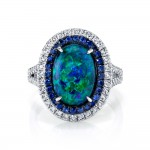 Black Opal Sapphire and Diamond Ring