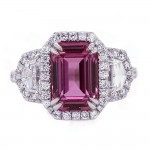 Pink Sapphire Emerald Cut Ring