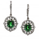 Tsavorite and Rose Cut Diamond Earrings