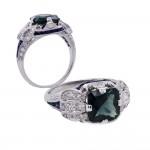 Estate Green-Blue Sapphire Platinum Ring