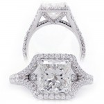 Princess Cut Diamond Split Shank Engagement Ring