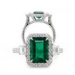 Emerald Cut Emerald Handmade Platinum Ring