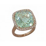 13.89ct green quartz and rose gold pave ring