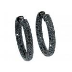 5.96ctw black diamond pave' hoop earrings