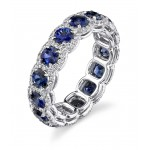 Custom sapphire diamond pave' halo eternity band