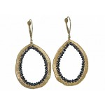 14kyg wrapped wire black diamond drop earrings