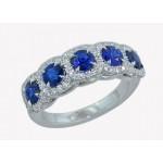 Handmade 5-stone sapphire pave' halo diamond ring