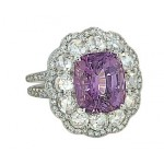 Custom made 4.7ct cushion purple Spinel rose cut diamond ring
