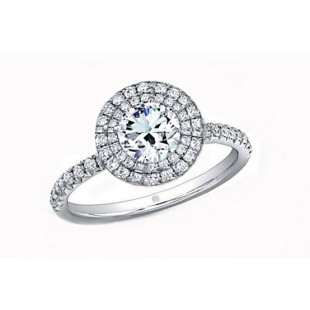 Forevermark pave' double halo diamond ring