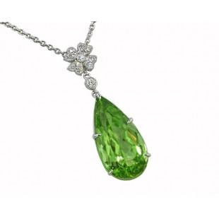 11ct pear Peridot flower diamond accent pendant