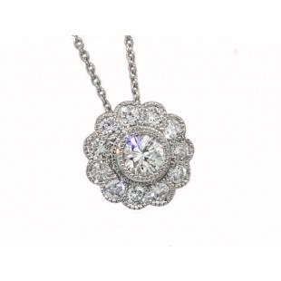 3/4ctw bezel diamond milgrain mini flower pendant