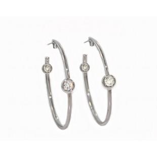 Inside/outside bezel diamond 28mm hoop earrings