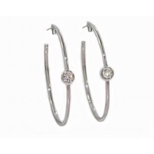 35mm 18k white gold bezel diamond hoop earrings