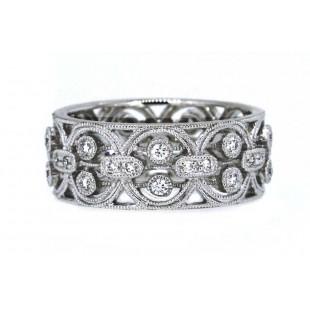 18k wg milgrain diamond interlocking circle band