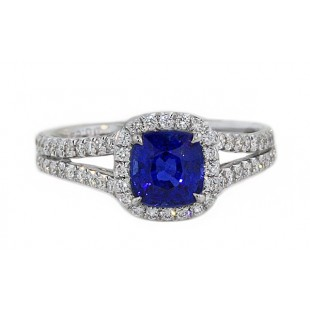1.44ct cushion blue sapphire pave' halo split ring