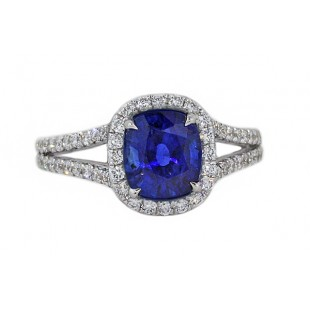 Cushion blue sapphire pave' halo split shank ring