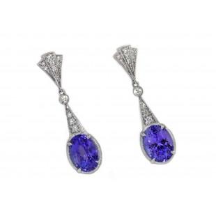 Tanzanite fan deco pave' diamond drop earrings
