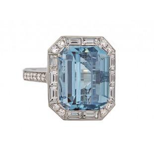 Emerald cut Aquamarine baguette halo diamond ring