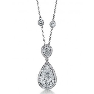 Halo pendant with pear shaped diamond