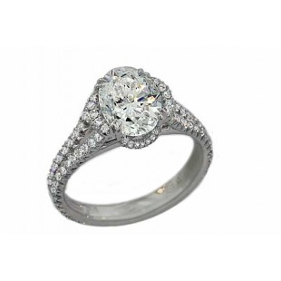 2ct oval diamond 1/2 pave' halo split shank ring