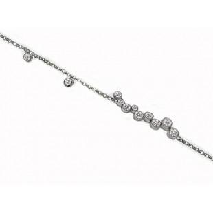Bezel set diamond cluster 7 inch 18kwg bracelet