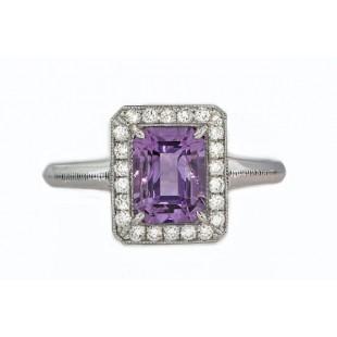 Emerald cut amethyst pave' halo milgrain ring