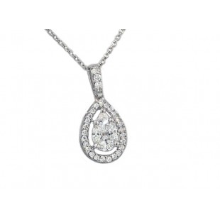 Pear diamond halo seamless illusion set pendant