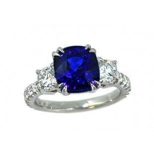 3.53t cushion sapphire three-stone pave' ring