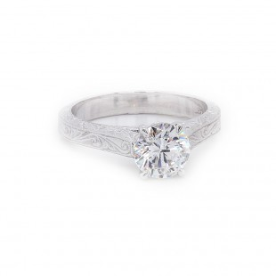 Engraved Diamond Solitaire Engagement Ring