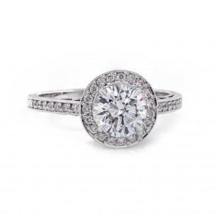 Vintage Style Round Halo Ring