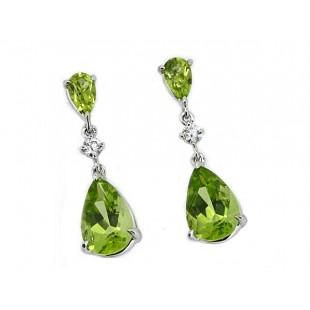 3.17ctw double teardrop peridot earrings