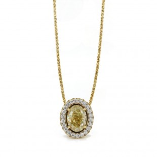 1.5ct oval Fancy Yellow diamond halo pendant