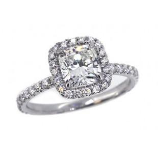 Cushion diamond pave' halo engagement ring