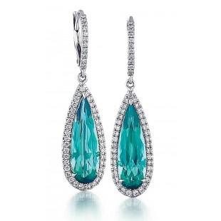 Custom made blue-green tourmaline drop earrings