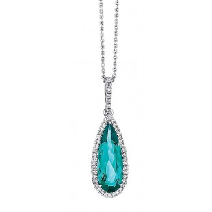 Custom made blue-green tourmaline drop pendant