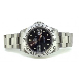 Stainless steel Rolex Explorer II with Black Dial